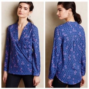Anthropologie Maeve cross front printed blouse